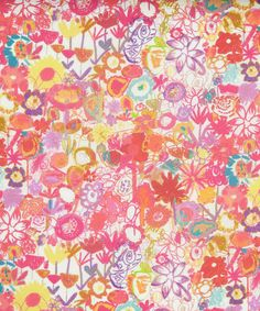 Pinky A Tana Lawn from Liberty of London // Painted and felt tip florals crated by 5-year-olds at St. Bartholomew's School, London.
