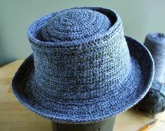 pork pie style hat in Tunesian crochet.
