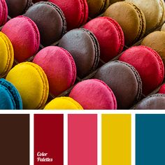 color, coffee-colored macaroon, macaroon colors, pink color, saffron yellow, satin blue, scarlet, wine-red, yellow color.