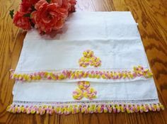 Vintage Pillowcases Bedding Pink and yellow Rose by vintagelady7