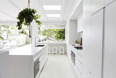 Trendy Kitchen Cabinets Green Plants – Best Home Plants Grey Kitchen Designs, Outdoor Kitchen Design, Modern Kitchen Design, Interior Design Kitchen, Kitchen Seating, Minimal Kitchen, Green Kitchen, Kitchen Plants, Home Living Room