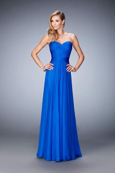 $139.99 2016 A-Line Sweetheart Sleeveless Empire Backless Prom Floor-Length Chiffon Royal Blue New Arrival prom dresses