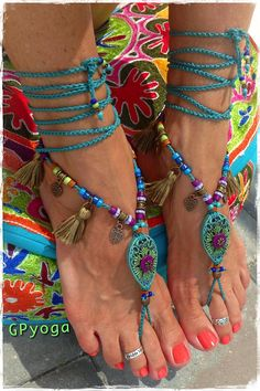 Woodland FAIRY BAREFOOT sandals Tassel foot jewelry Purple