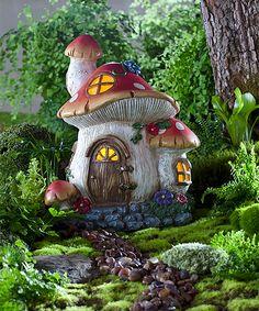 Solar Fairy Garden Mushroom Cottage Statue