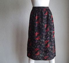 Vintage 70s Carole Little Butterfly Print Silk Crepe Skirt NOS Tags Deadstock Sz M W36 Bullocks Department Store $25.00 by funquejunque