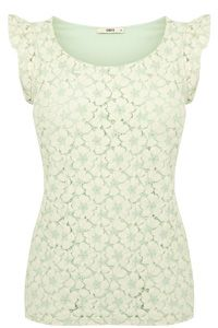 Lace Frill Sleeve Shell