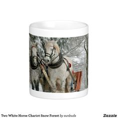 Two White Horse Chariot Snow Forest Basic White Mug
