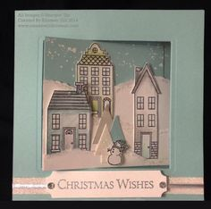 Cute wintery scene with Holiday Home on a fancy fold card base - SU - Christmas