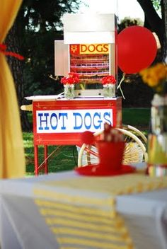 hot dog sign and stand.