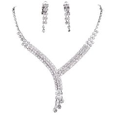 Favebridal Fashion Sliver Rhinestones Necklace Earrings Jewelry Sets... ($4.99) ❤ liked on Polyvore featuring jewelry, sets, bridal set jewelry, rhinestone jewelry sets, bridal party jewelry sets, rhinestone bridal jewelry sets and bridal jewelry sets