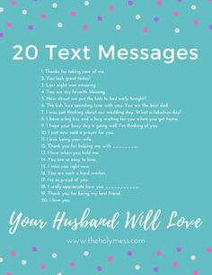 20 Text Messages Your Husband Will Love ❤ Show your husband you are thinking about him with these text message reminders. 20 text messages your husband will love. Marriage Relationship, Marriage And Family, Strong Marriage, Marriage Help, Godly Marriage, Marriage Goals, Successful Relationships, Long Distance Relationships, Young Marriage