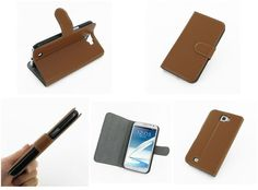 PDair Ultra Thin Leather Case for Samsung Galaxy Note II GT-N7100 - Book Stand Type (Brown)