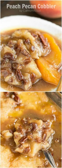 Grandma's Favorite Old Fashioned Cobbler Recipes Peach Pecan Cobbler, a sweet and buttery dessert recipe that's loaded with fresh peaches and toasted pecans. This simple and easy dessert comes together in one pan. Easy Desserts, Delicious Desserts, Dessert Recipes, Yummy Food, Vegan Desserts, Pecan Cobbler, Fruit Cobbler, The Pioneer Woman, Cupcakes
