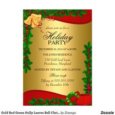 Gold Red Green Holly Leaves Bell Christmas Holiday 5x7 Paper Invitation Card
