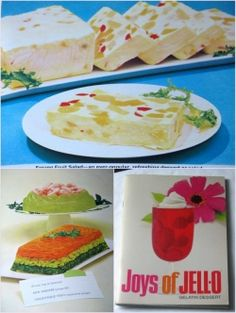 Vintage Jello recipe book. I have this book. Good recipes and ideas. My mom made the layered salad pictured a lot. Good.