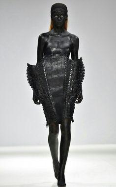 Dark Futuristic Fashion - mutant dress with sculptural silhouette; conceptual fashion // Marko Mitanovski Fall 2015