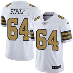 Men's Nike New Orleans Saints #64 Zach Strief Limited White Rush NFL Jersey