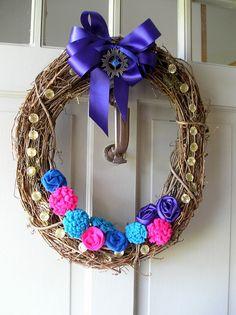 Boho Chic Decorative Grapevine Door Wreath in by EightTreeStreet