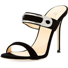 Giuseppe Zanotti Mistico Slide Dressy Sandal ($447) ❤ liked on Polyvore featuring shoes, sandals, buckle shoes, leather shoes, dress sandals, leather buckle sandals and open toe shoes