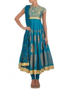 Turquoise Blue Anarkali Suit with Golden Motifs