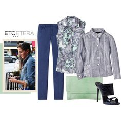 Etcetera | Summer 2016: ATMOSPHERE silver metallic jean jacket with SUMMER print blouse and BLUEMOON pants. www.etcetera.com.