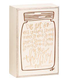 Love this 'Be Thankful' Mason Jar Box Sign on #zulily! #zulilyfinds