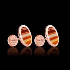 Bouton de manchette Ovum chevalière agathe zonée or rose vermeil #boutonsdemanchette #jaubaletparis #orrose #agathezonée