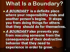 So many people lose sight of their boundaries and this is what allows people to walk all over them, use them, and violate their standards...Learn what your boundaries are and follow through, keep those set where you are comfortable and remember to say NO when people violate them! - Narc-ology