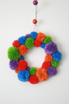 How To: Pom Pom Wreath ▽▼▽ My Poppet - kids | craft | vintage | fun-I would do these in the school colors and then put the initials in the middle.!!
