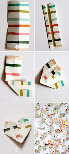 Origami hearts step by step