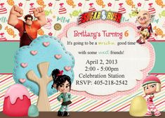 sugar rush racers party invitations | Wreck It Ralph Sugar Rush Theme Invitation by LittleDoodlePrints