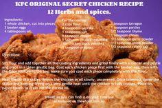 kfc recipe 12 herbs and spices Kfc Chicken Recipe, Chicken Recipes, Fried Chicken, Chicken Batter, Kfc Original Recipe, Great Recipes, Favorite Recipes, Copykat Recipes, Fast Food