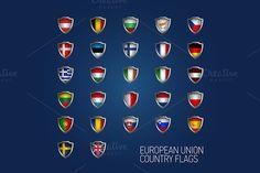 European Union states full flags by Alex Fino on Creative Market