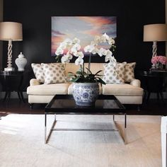 Black and white living room with modern pops of pink!