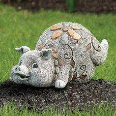 Pudgy Pal Pig by Roman Roman Garden, Garden Sculpture, Stone, Outdoor Decor, Garden Ideas, Fun, Inspiration, Fin Fun, Biblical Inspiration
