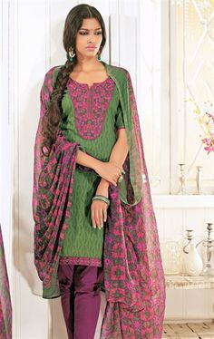 Picture of Fancy Green Color Churidar Kameez for Party