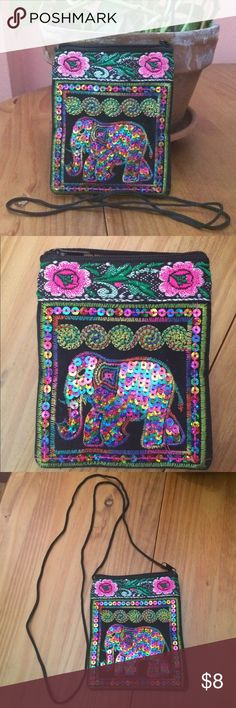 """Small Handmade Elephant Bag NWOT Hand sewn cotton bag with zipper. Front of bag is decorated in a multicolor sequined elephant and  floral motif. Back of bag is black and without decoration. Approximately 4"""" L x 5"""" H without strap. Please ask if you have questions. Bags Mini Bags"""