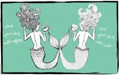 Coffee & Wine Mermaids Art Print by ArtPrintsByAle on Etsy