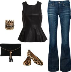 Leather peplum shirt pairs brilliantly with denim (straight leg, not boot cut)