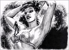 The erotic, macabre art of Virgil Finlay, favorite illustrator of H. Hp Lovecraft, Arte Sci Fi, Sci Fi Art, Science Fiction Art, Pulp Fiction, Macabre Art, Pulp Art, Sci Fi Fantasy, Fantastic Art