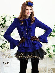 Morpheus Boutique  - Royal Blue Designer Vintage Layer Lady Ruffle Bow Pleated Jacket