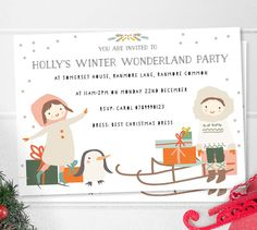 Children's Winter Christmas Party Invites 'Wonderland' by Lily Summery, the perfect gift for Explore more unique gifts in our curated marketplace. Personalised Party Invitations, Party Invitations Kids, Christmas Party Invitations, Invites, Winter Birthday Parties, Special Birthday, Winter Wonderland Party, Childrens Christmas, Winter Christmas