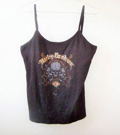 Womens Harley-Davidson Black Graphic Camisole 2X Skull Eagle Beautiful Graphics #HarleyDavidson #KnitTop