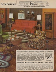 "The ""Early American"" décor. This could be our living room in the Sala Vintage, Vintage Decor, Vintage Furniture, Vintage Ads, Vintage Images, 1970s Decor, 70s Home Decor, Early American Decorating, Early American Furniture"