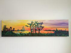 """Sunset"", Acryl auf Leinwand (40x160), Gesindehaus 18"