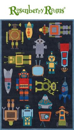 Bright colors against a rich steel blue, the Whimsy Robots Rug is the perfect addition to a little boy's space or technology themed room!