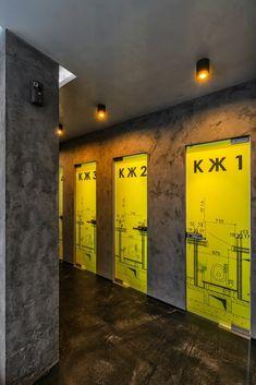 Concrete bar restaurant by Yunakov Studio, Kiev Ukraine hotels and restaurants Decoration Restaurant, Restaurant Design, Restaurant Bar, Environmental Graphic Design, Environmental Graphics, Wayfinding Signage, Signage Design, Gym Design, Retail Design