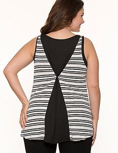 In a lightweight hacci knit for comfy layering, this metallic striped tank takes on a modern shape with an ultra-trendy chiffon back. Flattering scoop neck and wide tank straps complete the look. Shown layered (layering tank sold separately). lanebryant.com