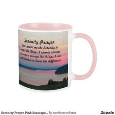 Serenity Prayer Pink Seascape Photo Coffee Mug