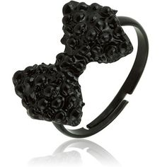 $6.99 - Fashion Vintage Black Imitation Diamond Bow Adjustable Ring
